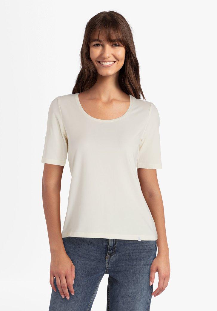 T-shirt en coton stretch écru