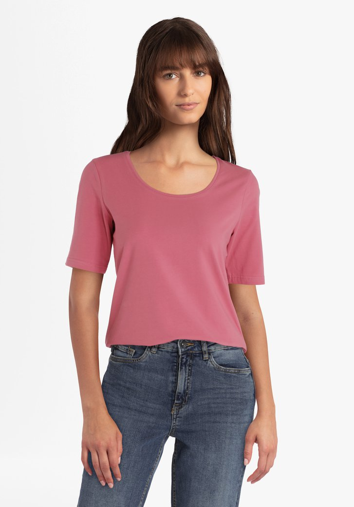 T-shirt en coton stretch framboise