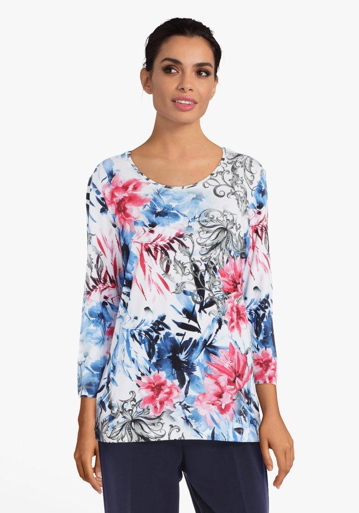 T-shirt floral bleu-rouge en viscose