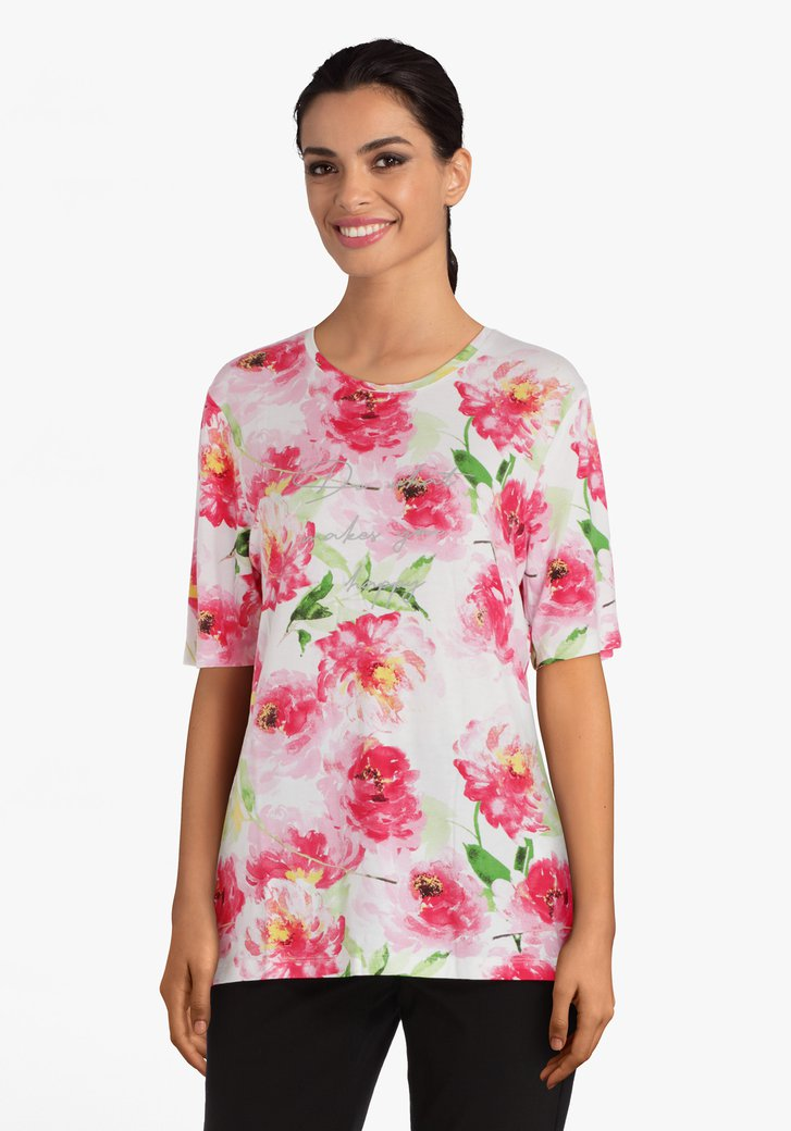 T-shirt fuchsia à fleurs en viscose
