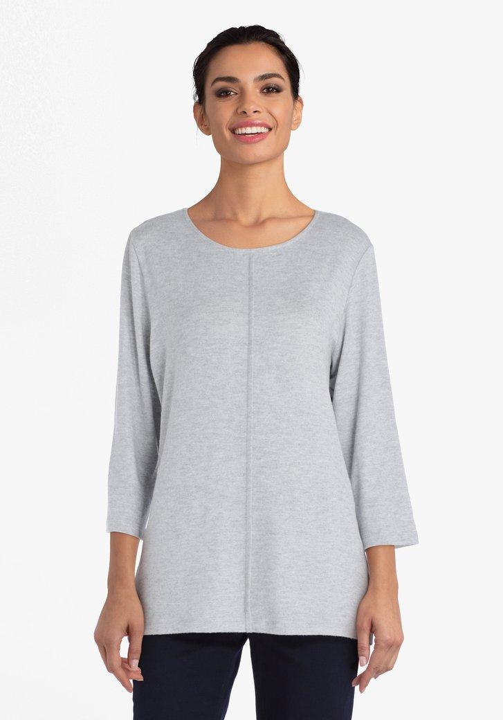 T-shirt gris à couture verticale