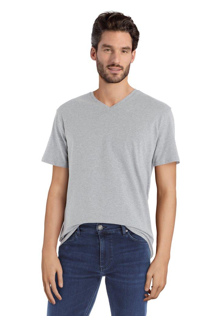 T-shirt gris à encolure en V