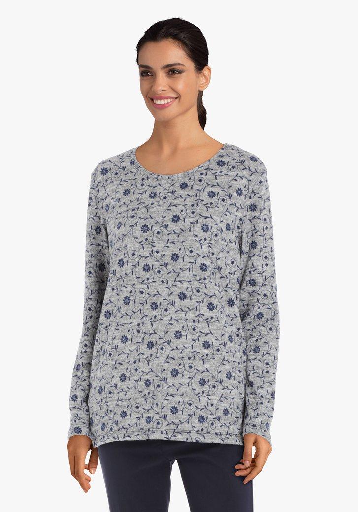T-shirt gris à fleurs bleues