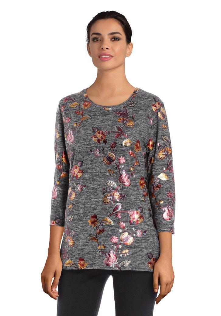 T-shirt gris à fleurs brodées
