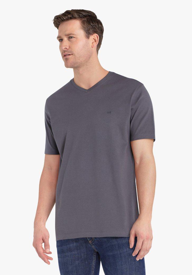 T-shirt gris avec encolure en V