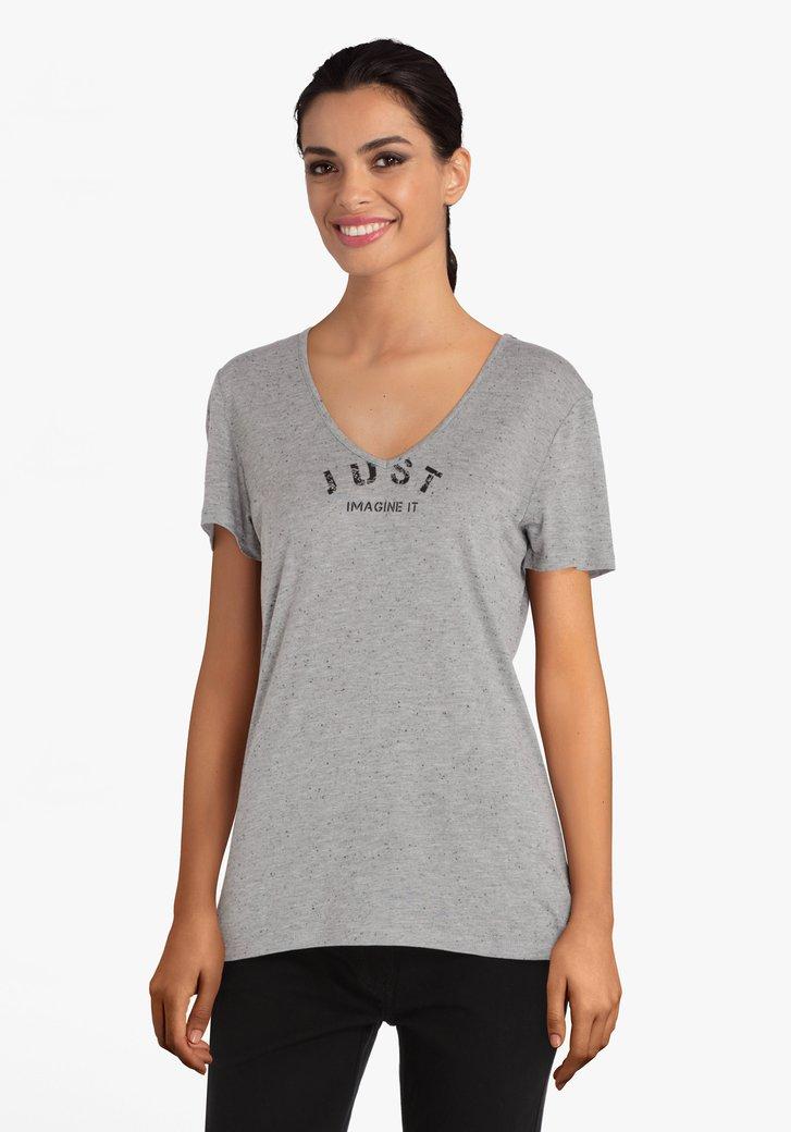 T-shirt gris avec inscription