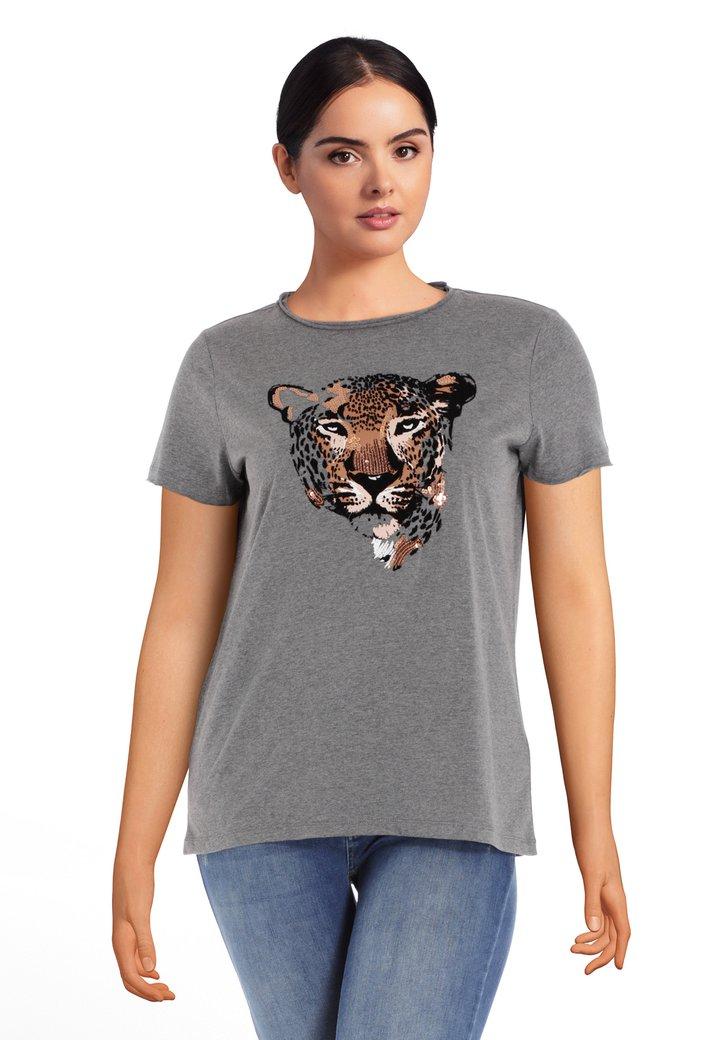 T-shirt gris avec panthère rose