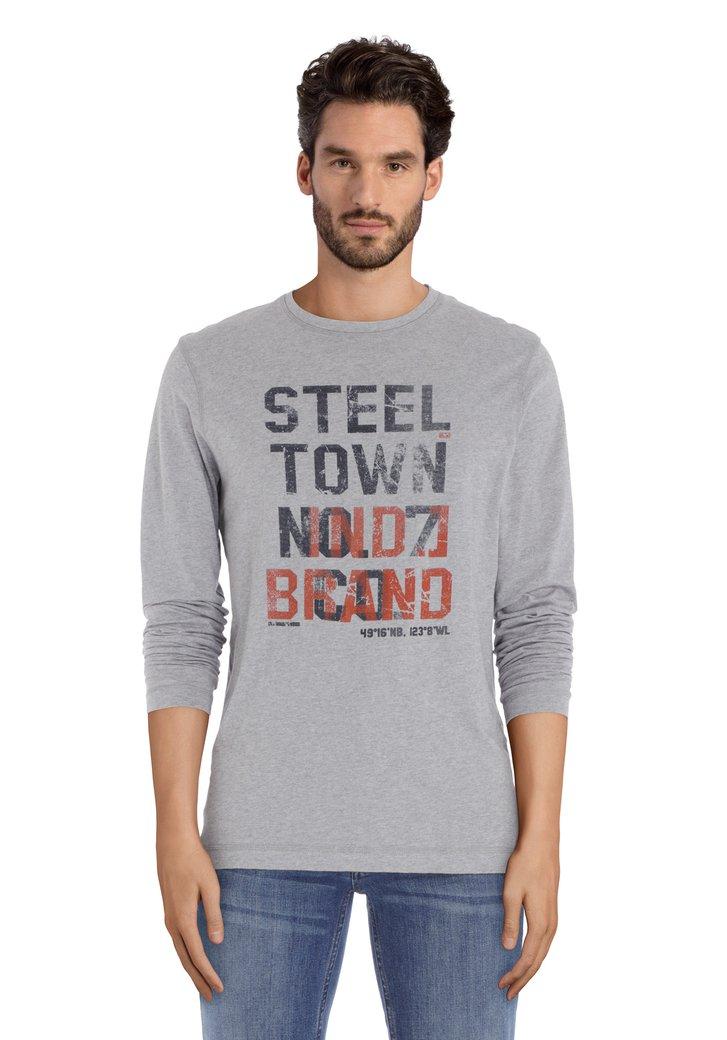 T-shirt gris clair avec inscription noire/rouge