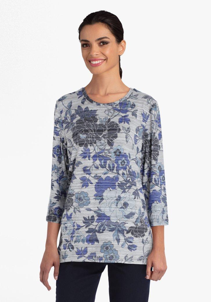 T-shirt gris imprimé floral bleu