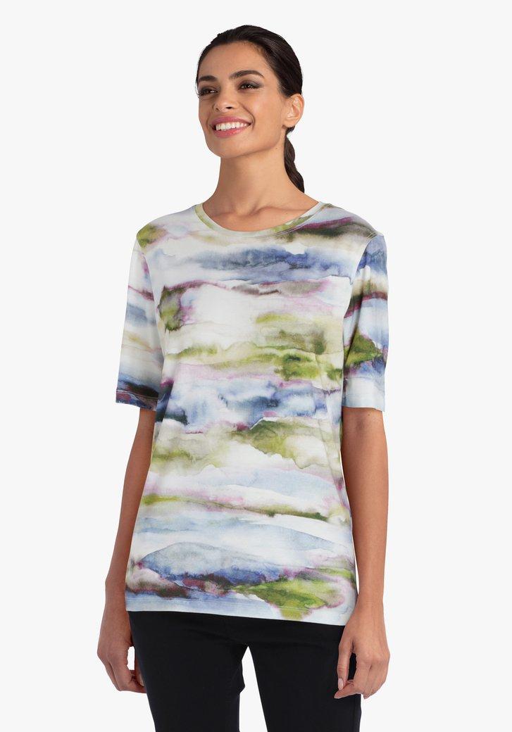 T-shirt in meerdere kleuren met aquarel-effect