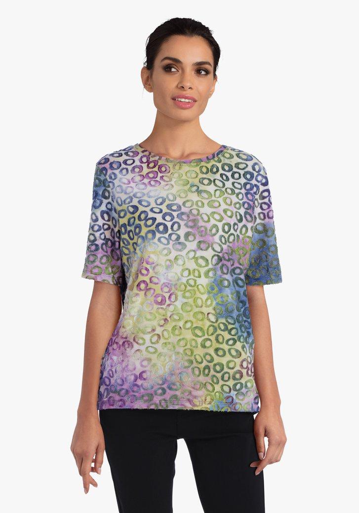 T-shirt in meerdere kleuren met opliggend patroon