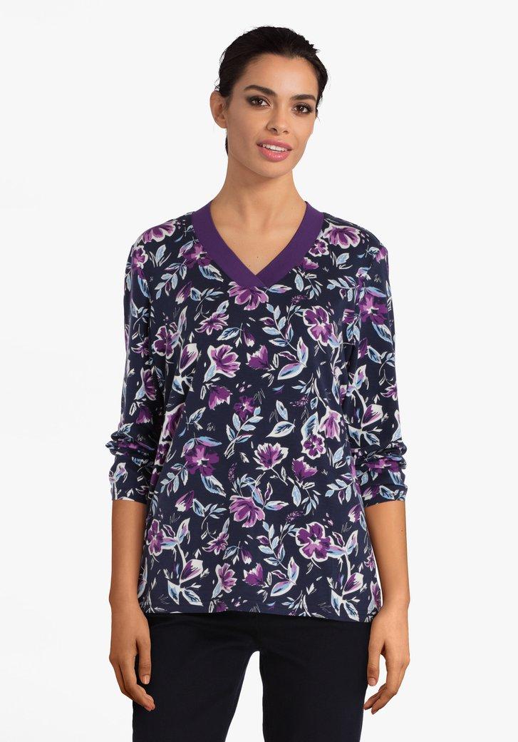 T-shirt indigo à imprimé floral bleu violet