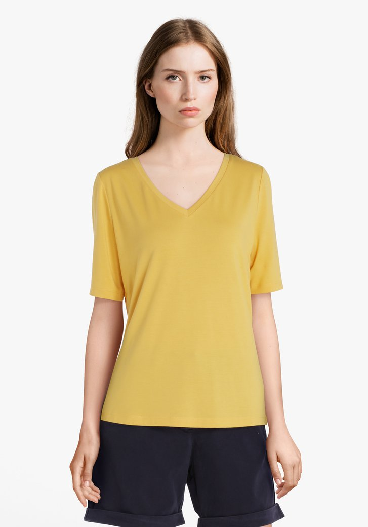 T-shirt jaune à col en V en modal