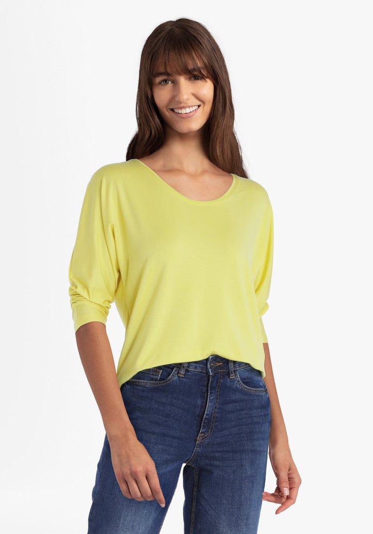 T-shirt jaune à manches 3/4