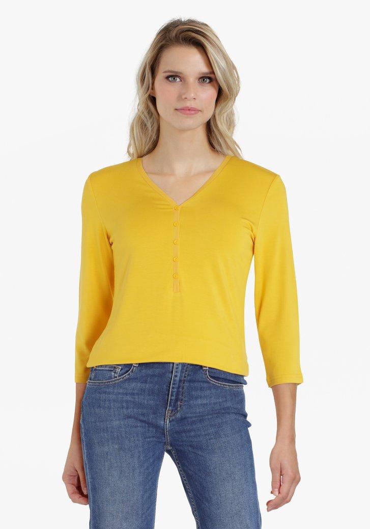 T-shirt jaune avec col en V