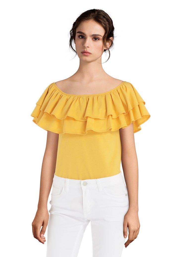 T-shirt jaune foncé à volants