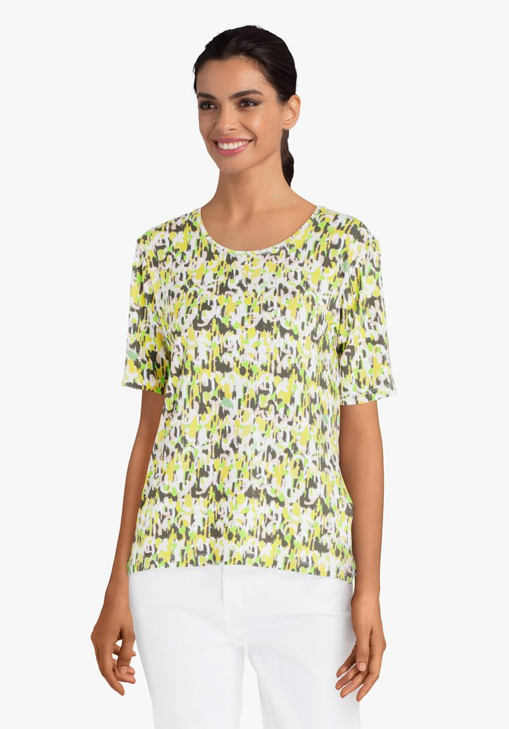 T-shirt jaune-vert à motif