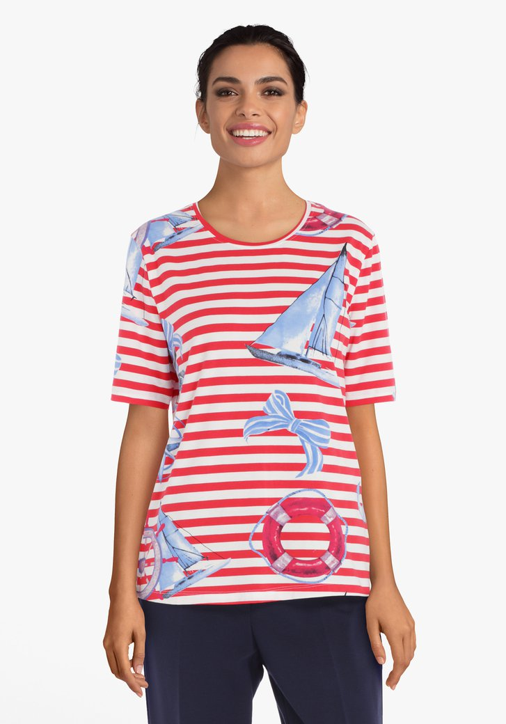 T-shirt marine rayé rouge