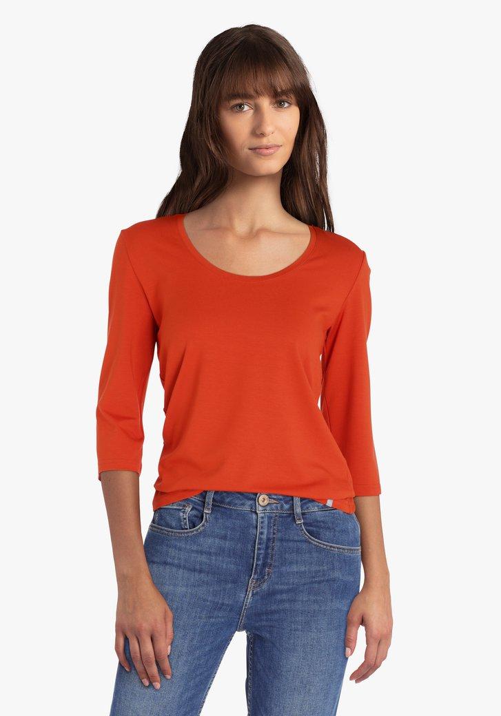 T-shirt marron-orange à manches 3/4