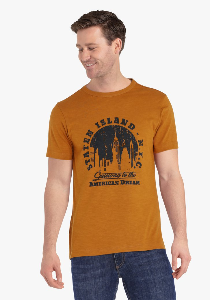 T-shirt marron-orange avec imprimé