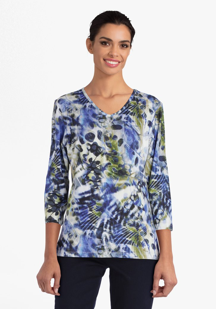 T-shirt met blauw-groene print