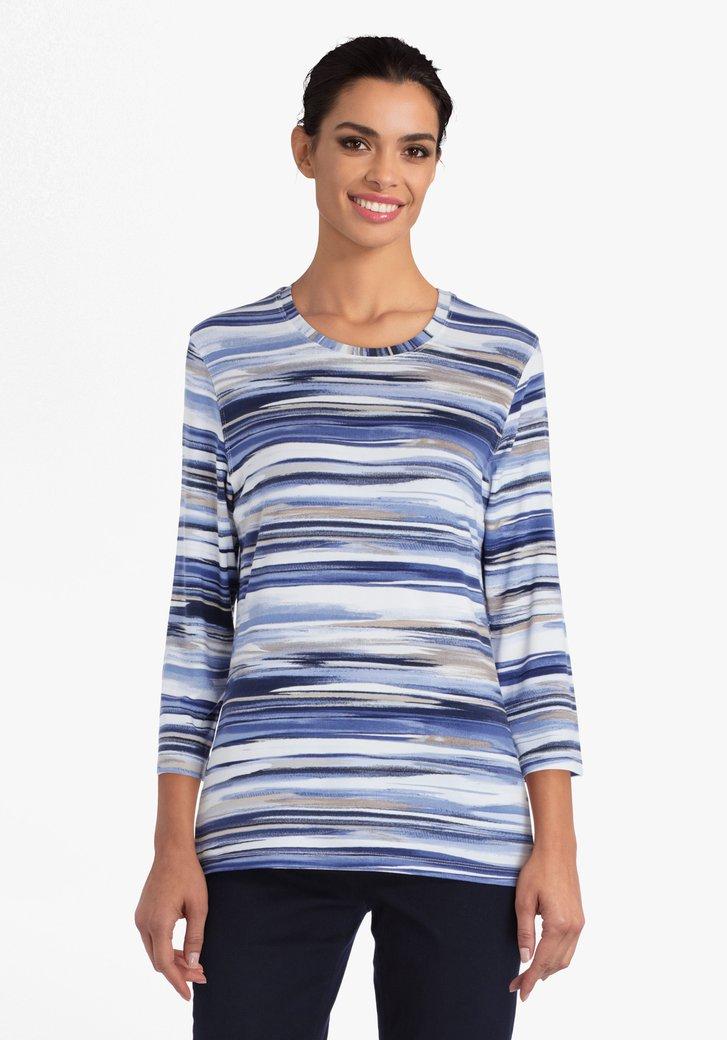 T-shirt met blauwe en witte aquarel strepen