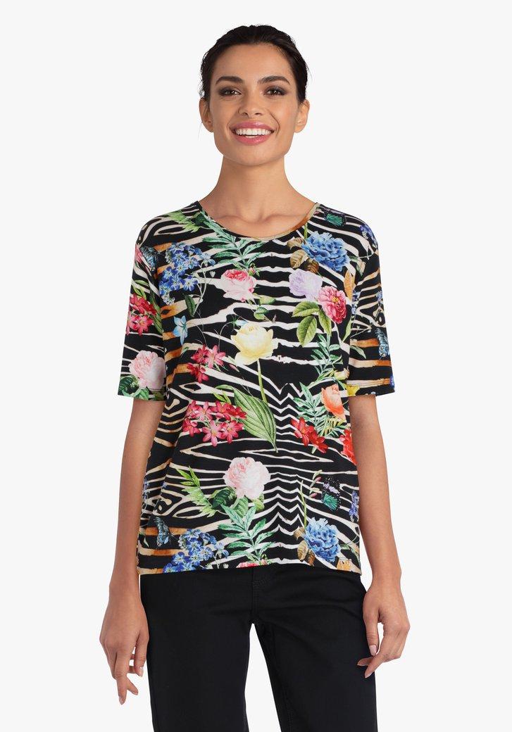 T-shirt met bloemen en dierenprint