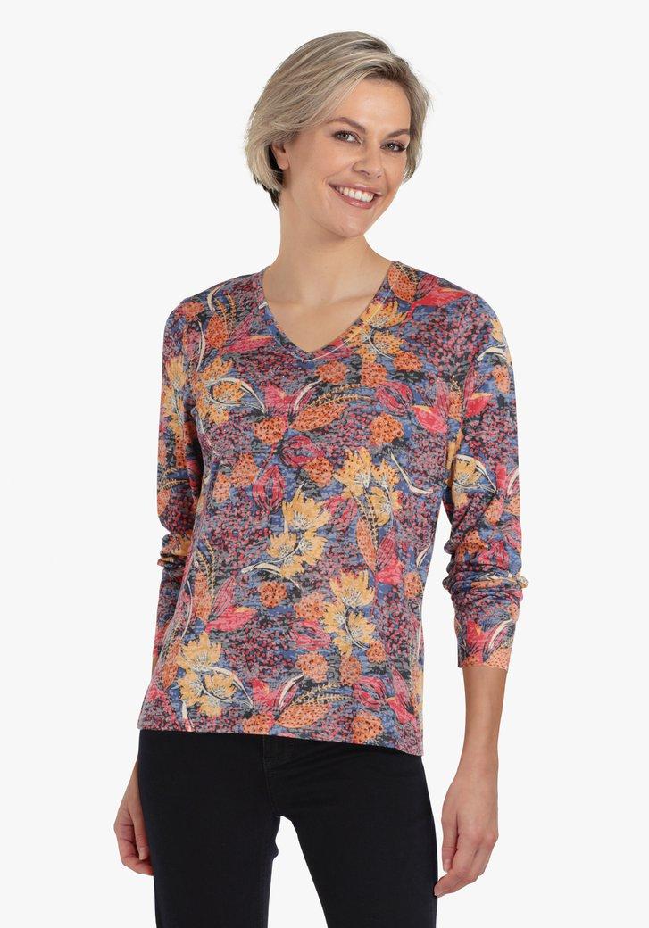 T-shirt met gekleurde bloemenprint