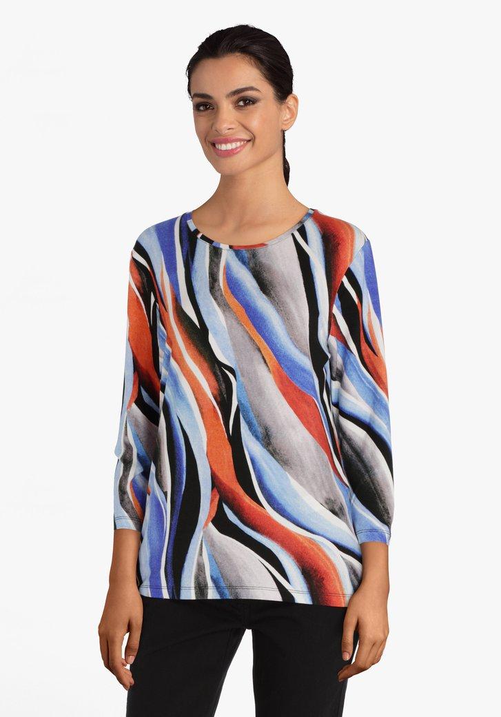 T-shirt met gekleurde strepen