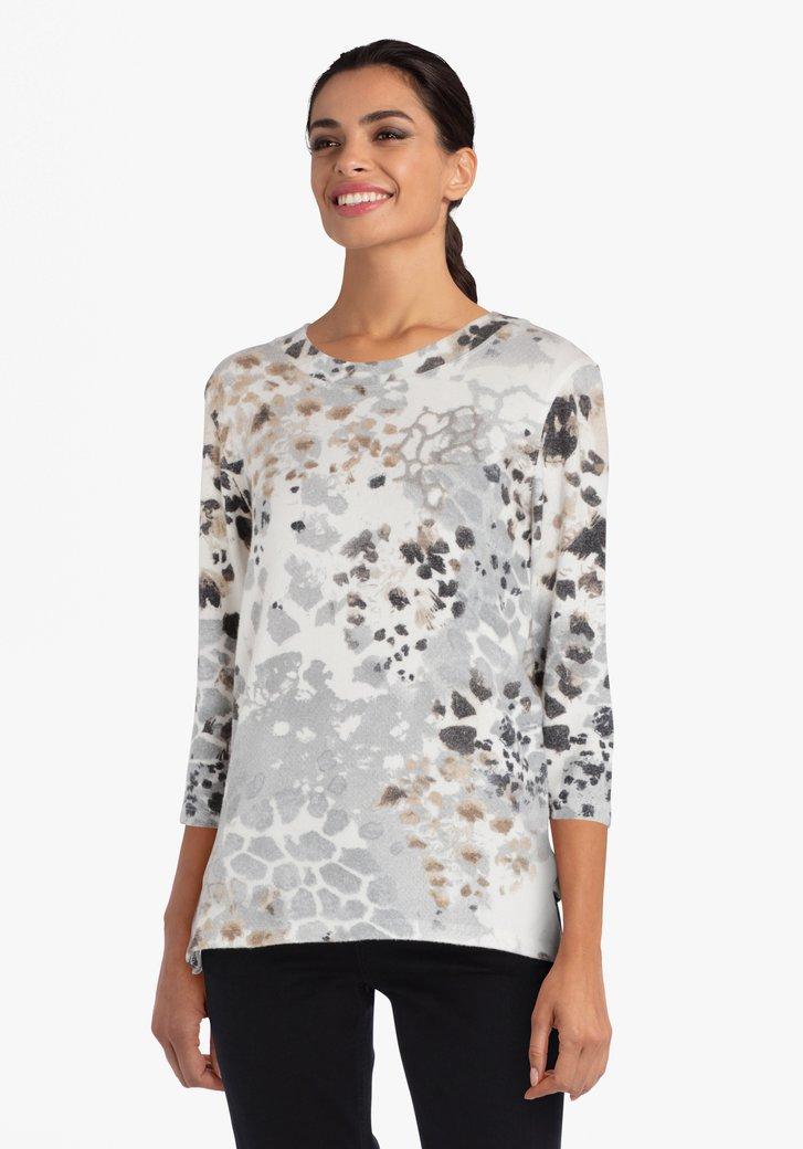 T-shirt met grijs-bruine print