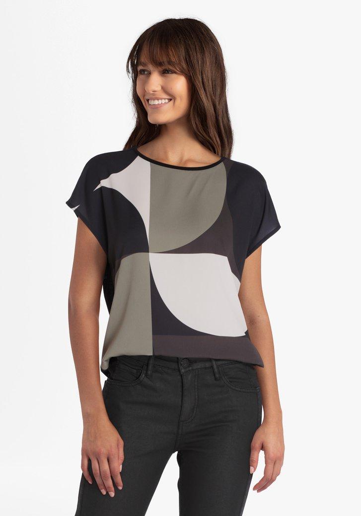 T-shirt met grijs-groene print