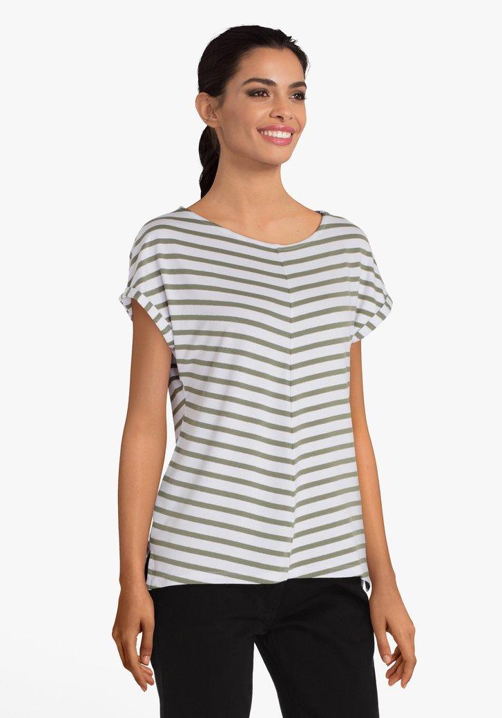 T-shirt met kaki-witte strepen en details in lurex