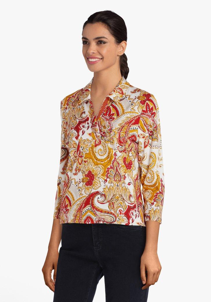 T-shirt met kraag en paisley print