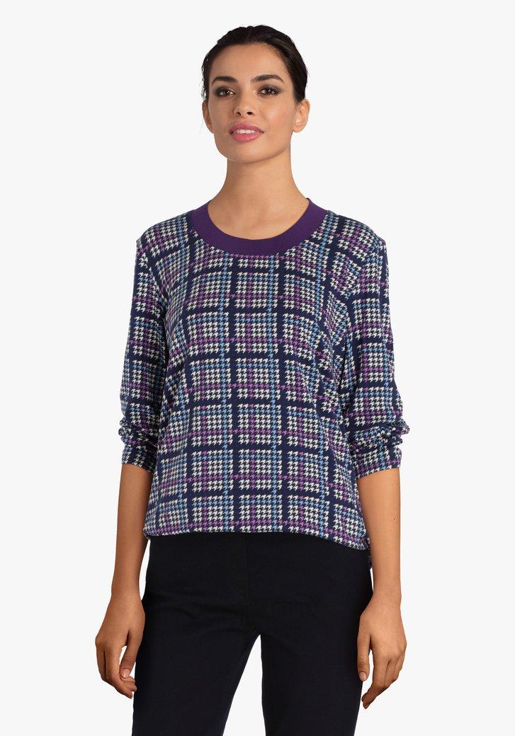T-shirt met paars-blauwe print
