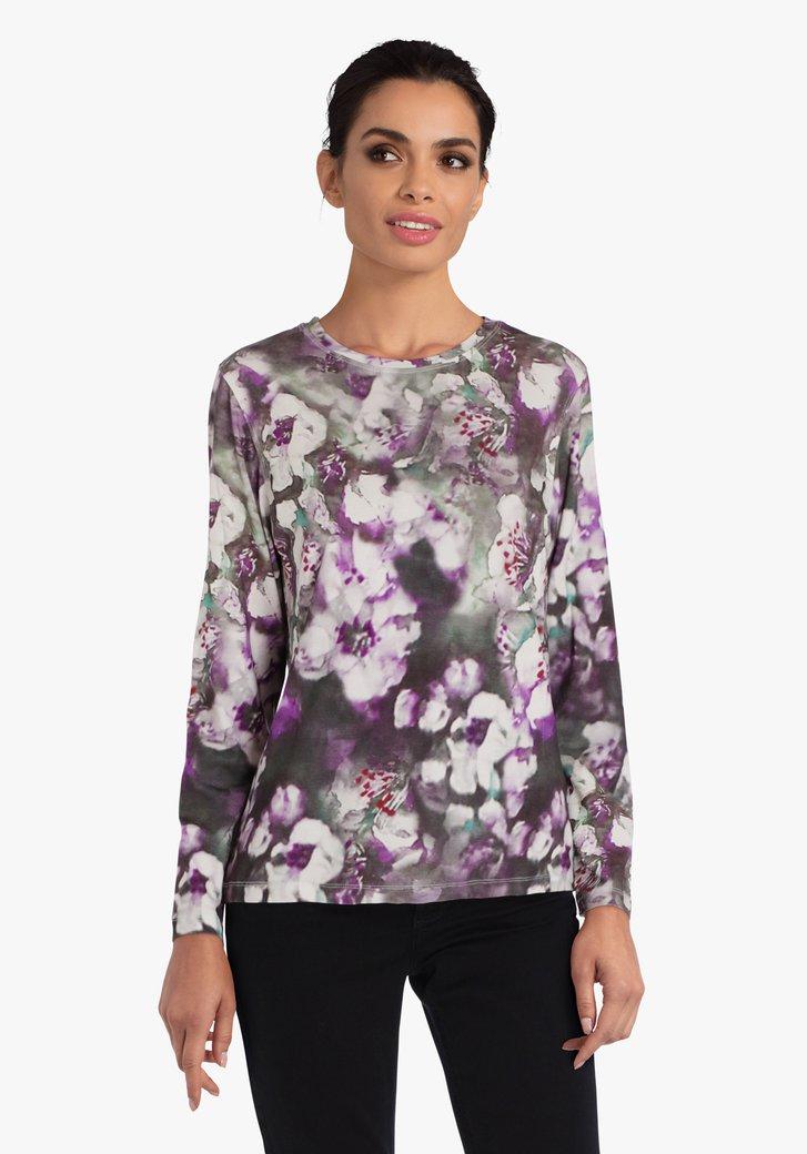 T-shirt met paarse bloemenprint