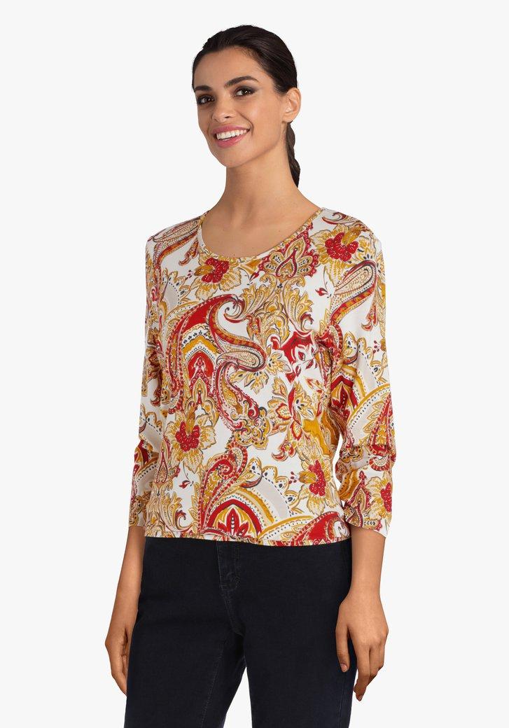 T-shirt met paisley print in oker en rood