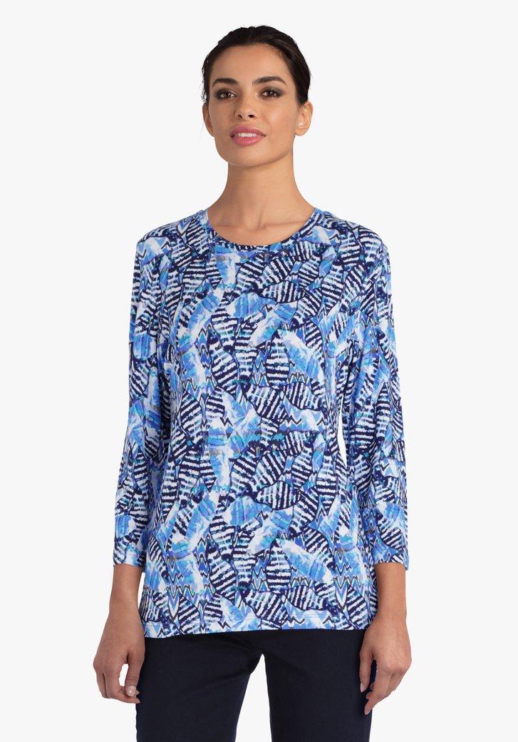 T-shirt met print in blauwe tinten