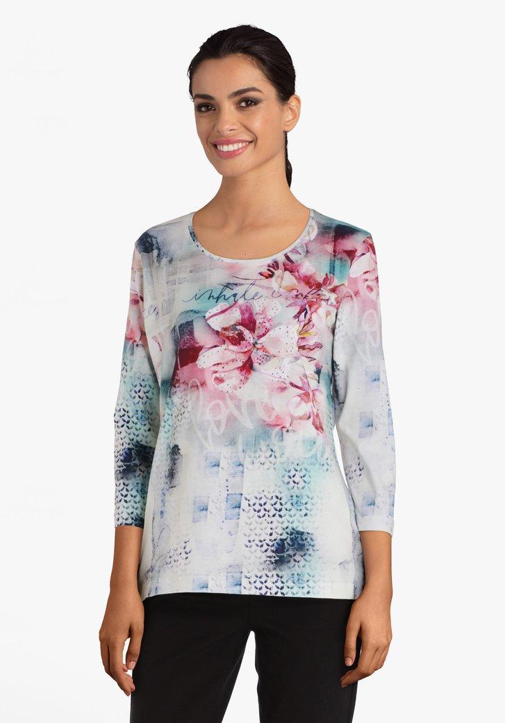 T-shirt met roze bloemen en strass