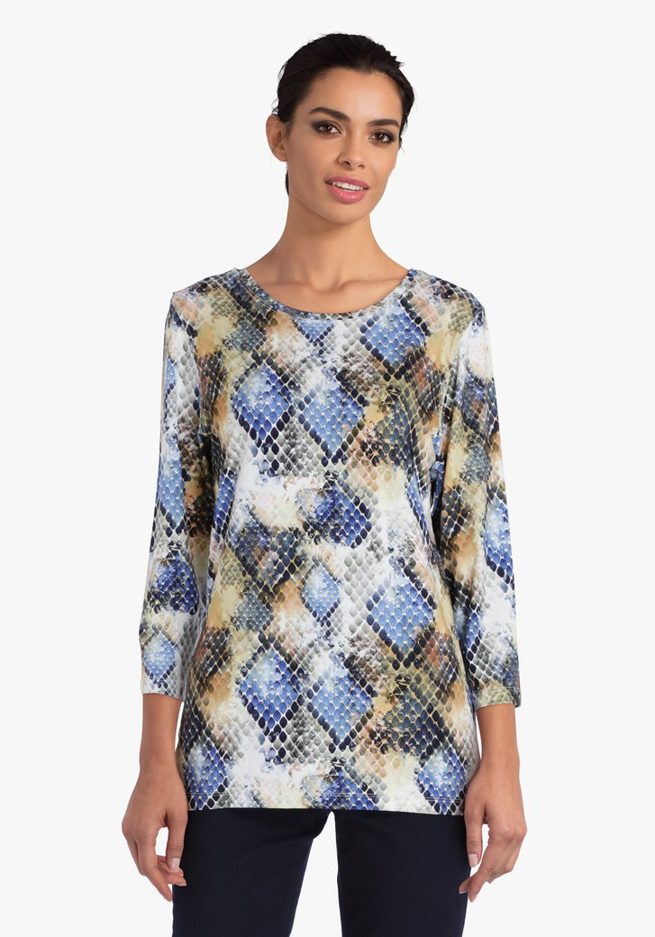 T-shirt met slangenprint in blauw en oker