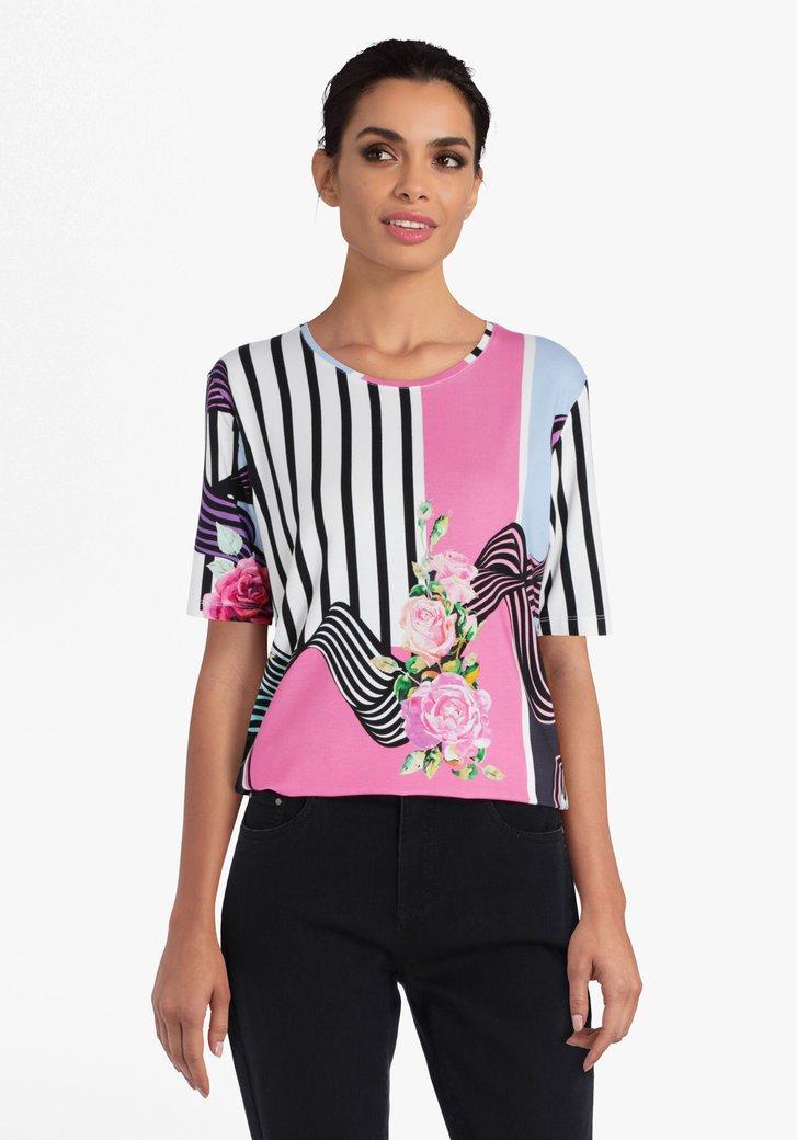 T-shirt met strepen en bloemenprint