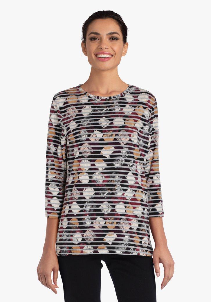 T-shirt met strepen- en bolletjesprint