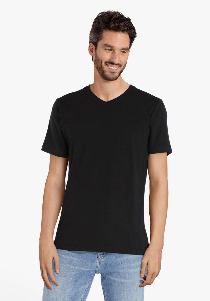 T-shirt noir à encolure en V, en jersey