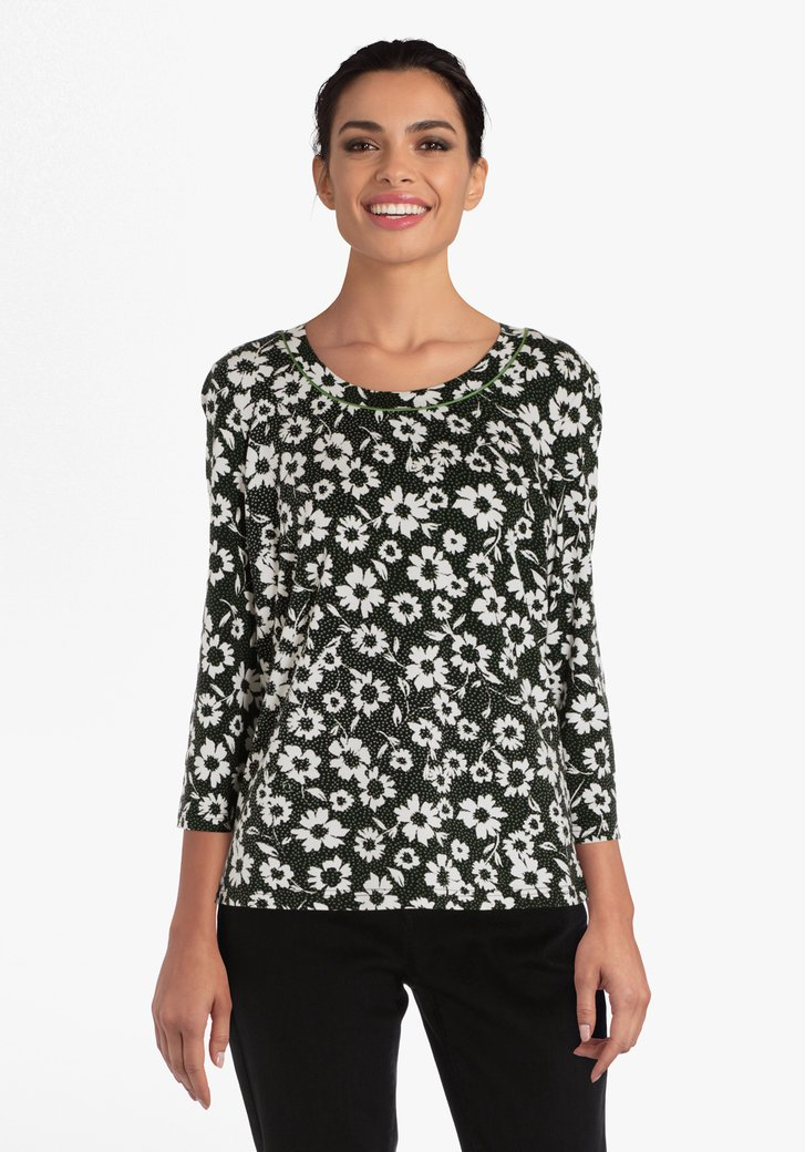 T-shirt noir à fleurs blanches