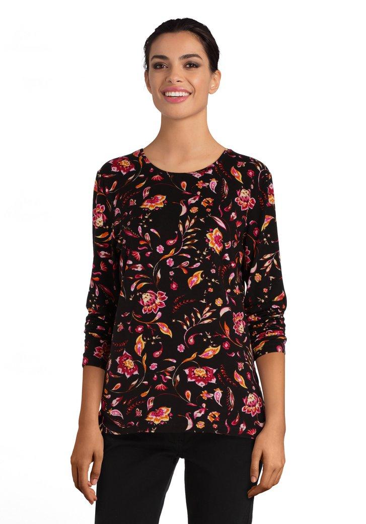 T-shirt noir à fleurs colorées