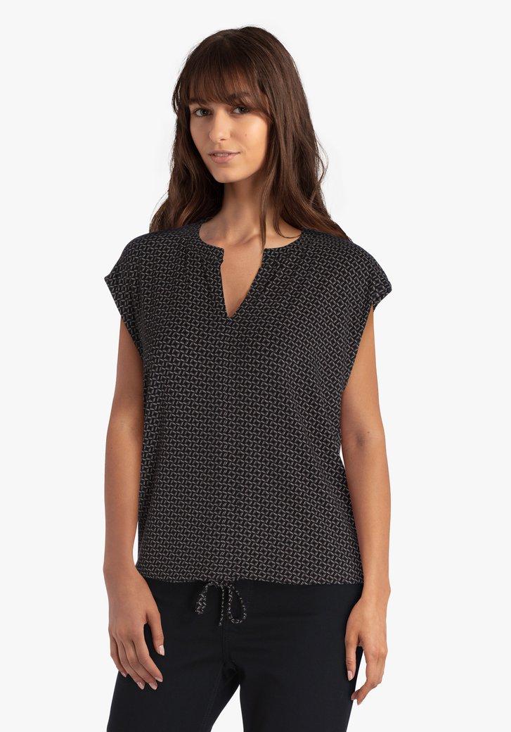 T-shirt noir à imprimé géométrique