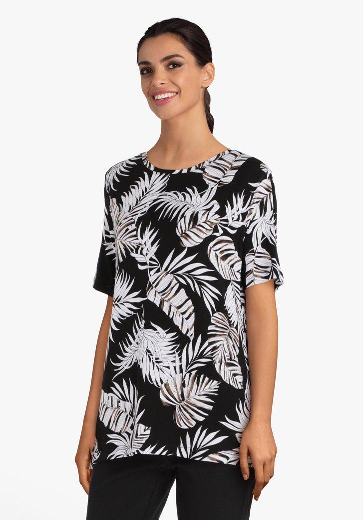 T-shirt noir à motif à feuilles
