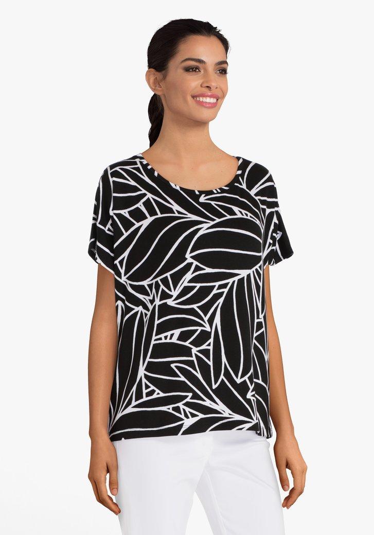T-shirt noir à motif à feuilles blanches