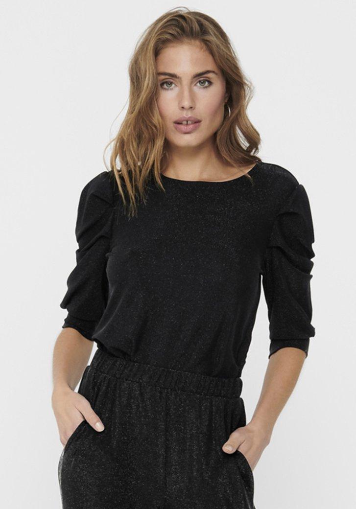 T-shirt noir avec fil à pailleté