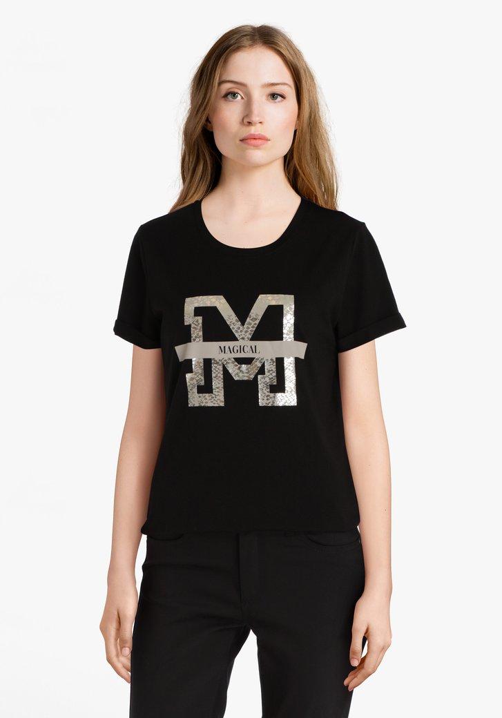T-shirt noir avec imprimé argenté