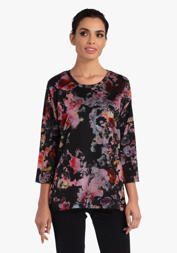 T-shirt noir avec imprimé floral rose